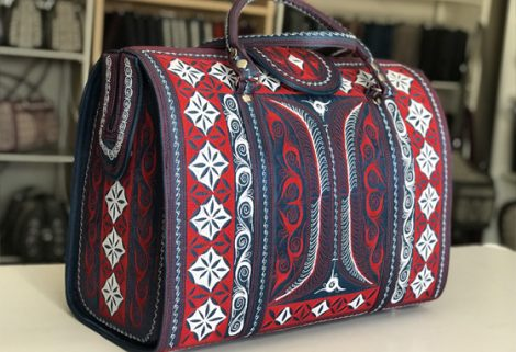 Laga handcrafted vegan free motion embroidered Mulia Travel Bag