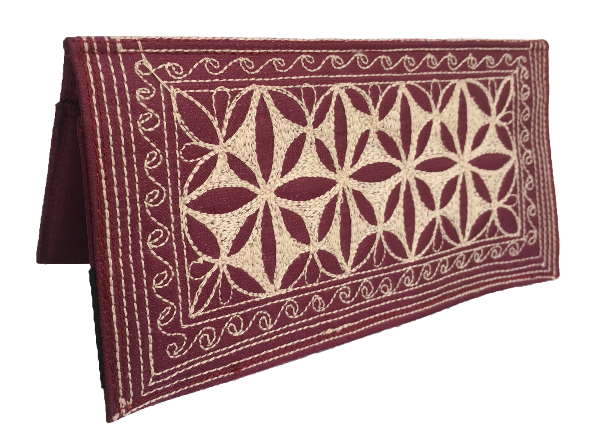 Laga handcrafted vegan free motion embroidered Checkbook Cover