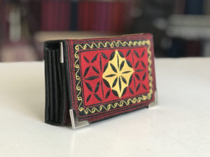 uang small fold handmade wallet in blk red yel
