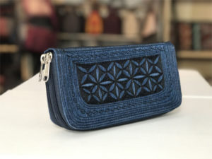 uang zip large handmade wallet in blue and black embroidery by Laga