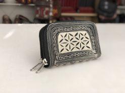Uang Zip Small handmade wallet black cream